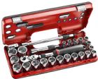"Facom 1/2"" Drive 6pt Metric Tool Set with Telescoping Flex Head Ratchet & Detection Box SXL.DBOX3"